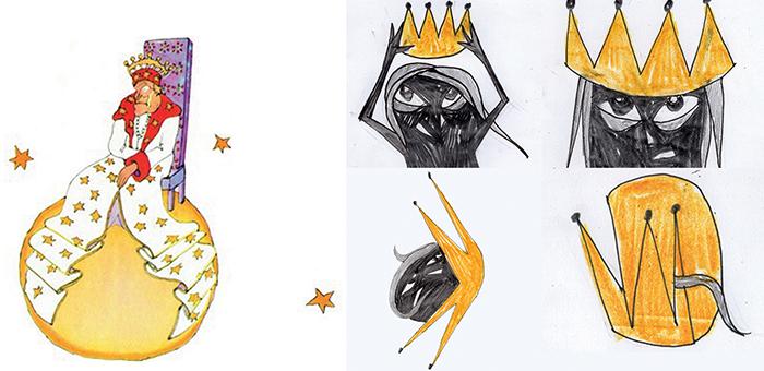 (levo) Ilustracija iz knjige. (sredin a i desno) Moje skice