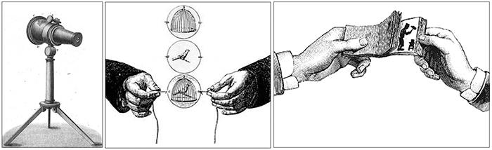 (levo) kaleidoskop (sredina) taumatrop (desno) kineograf