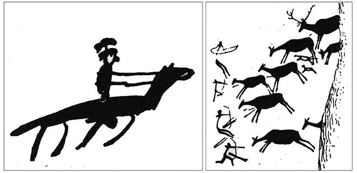 (levo) Crtež današnjeg dečaka od šest godina (desno) Predistorijska pećinska slika