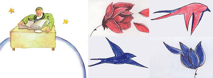(levo) Ilustracija iz knjige (desno) Moje skice