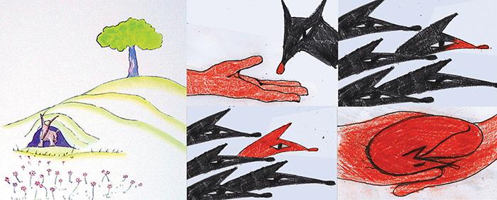 (levo) Ilustracija iz knjige (sredina i desno) Moje skice