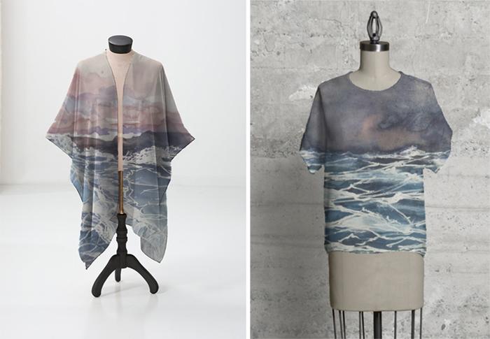 Prva serija radova, akvareli aplicirani na odevne predmete