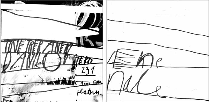 Jedna stranica jedne kocke, 20 × 20 cm (levo); Nastavak sa druge strane, 20 × 20 cm (desno)