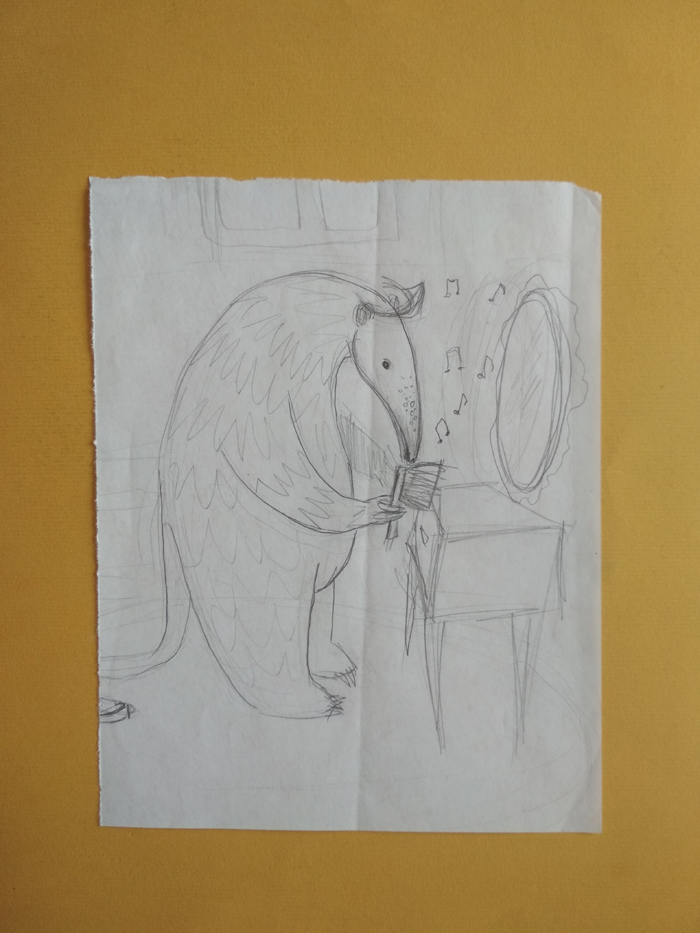 Skica za Riđeg, jednog od likova iz slikovnice