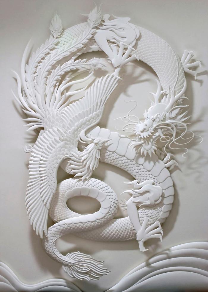 Skulptura od papira Zmaj i Feniks, Džef i Nišaka (Jeff Nishaka)